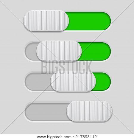 Interface slider. Green bar on gray background. Vector illustration