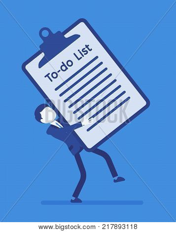 Heavy to-do list. Young busy manager holding a giant clipboard with long list of tasks needs to be completed, too many things to do at work. Vector business concept illustration, faceless characters