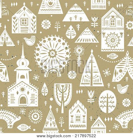 Vector seamless pattern in Scandinavian style on a winter city theme. Beige and whte colors.