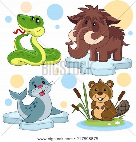 A set of cartoon illustrations for children. The image of a snake, a mammoth, a seal on an ice floe and a beaver in reeds.