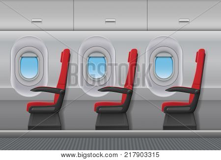 Passenger airplane red vector interior. Aircraft indoor cabin with portholes and chairs seats. Vector illustration. EPS 10.