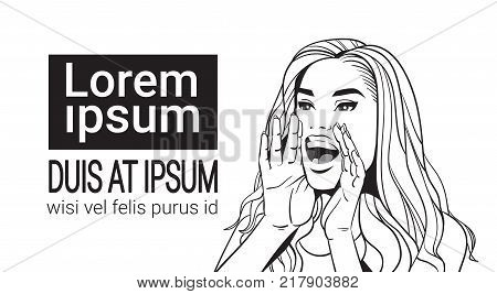 Sketch Beautiful Woman Screaming Advertisement Announcement Concept Attractive Female With Long Red Hair Over White Background With Copy Space Vector Illustration
