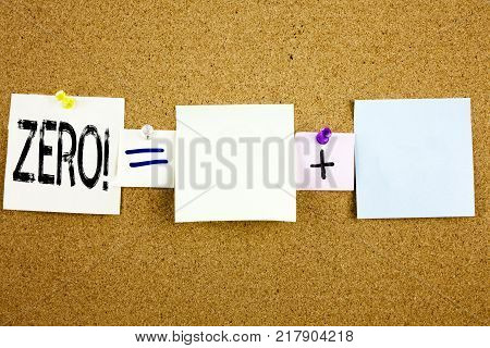 Conceptual announcement text caption inspiration showing Zero Business concept for Zero Zeros Nought Tolerance written on Sticky Note on cork background with space