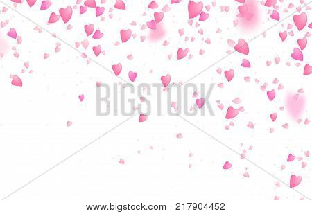 Valentines day border background. Falling from above romantic pink love hearts. Blurred petal. Women, mother day concept. Vector illustration