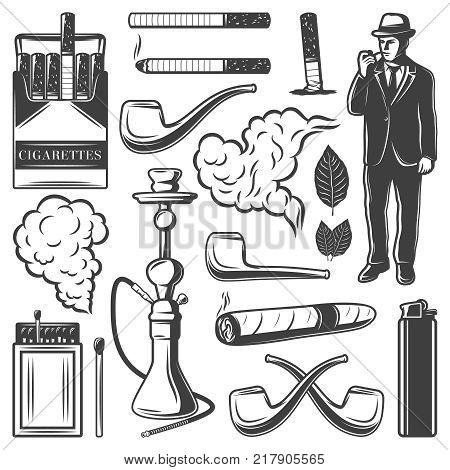 Vintage smoking elements collection with cigarettes gentleman hookah pipes matches lighter cigar tobacco leaves isolated vector illustration