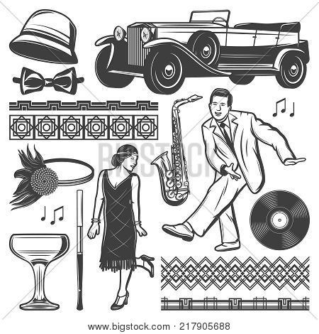 Vintage retro party elements set with dancing man woman classic car female headgears mouthpiece wineglass vinyl saxophone traceries isolated vector illustration