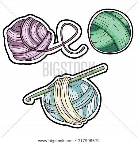 Yarn ball stickers set in cartoon style. For print, logo, creative design. Vector illustration.