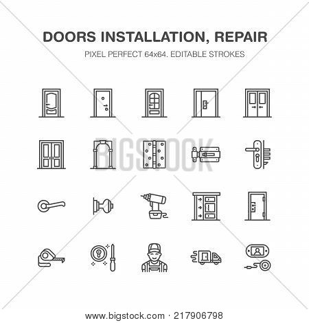 Doors installation, repair line icons. Various door types, handle, latch, lock, hinges. Interior design thin linear signs for house decor shop, handyman service. Pixel perfect 64x64.