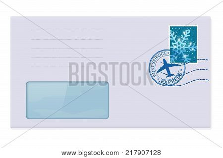 Blank envelope with address window. With winter stamp. Vector 3d illustration isolated on white background