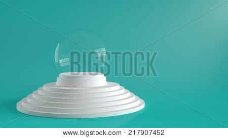 Empty snow glass ball with white tray on white steps podium with pastel green background. 3D rendering.