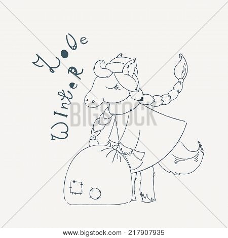 New Year card with winter fairy Horse and big bag of presents. Vector illustration.