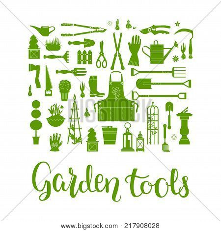 Vector set of gardening tools. Agriculture equipmen for design. Silhouettes of garden items and plants