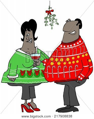 Illustration of a black couple wearing ugly Christmas sweaters standing under some mistletoe.