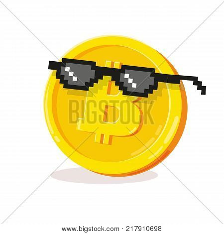 Golden coin with black glasses. Cool bitcoin sign. Money and finance symbol Cryptocurrency. Cartoon Bitcoin symbol cryptocurrency. Cryptography currency. Vector Illustration