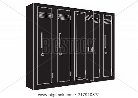 School lockers. Outline drawing. Vector illustration isolated on white background