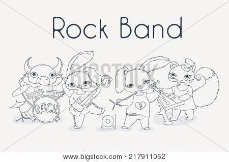 Funky animals rock band. Cute children music illustration. Vector image. Coloring page