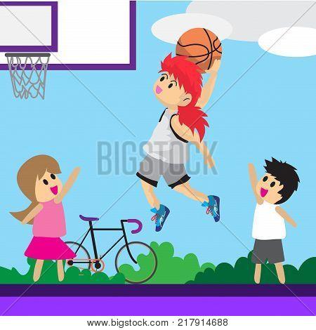 Boy Play Basketball character design cartoon art basketball court outdoor Background illustration