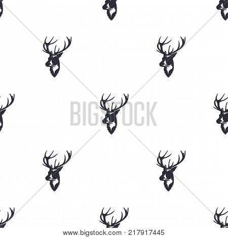 Deer head pattern. Wild animal symbols seamless background. Reindeer icons. Retro wallpaper. Vintage Stock vector illustration isolated on white background.