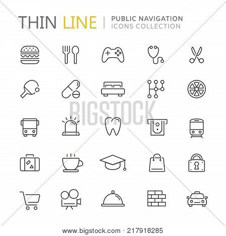 Collection of public navigation thin line icons. Vector eps10