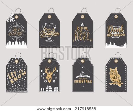 Merry Christmas and New Year gift tags collection. Holiday cards concept with xmas symbols -deer, snowflake, coffee cup, santa. Stock Vector illustration isolated on white background. Trending colors