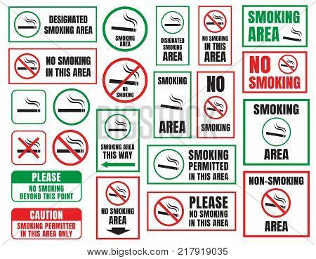 No smoking and Smoking area signs in vector