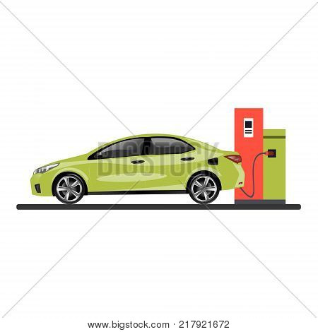 Gas station refueling a car. Vector flat design illustration