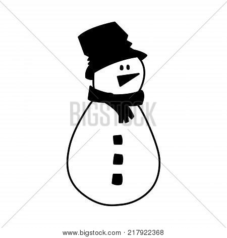 Snowman vector illustration. Christmas holiday decor. Cartoon character. Cute hand drawn silhouette isolated on white. Scandinavian nordic flat design for print Holiday greeting card, home interior.