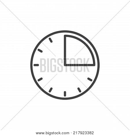 Timer clock line icon, outline vector sign, linear style pictogram isolated on white. 15 minute time symbol, logo illustration. Editable stroke