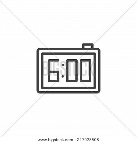 Digital alarm clock line icon, outline vector sign, linear style pictogram isolated on white. Electronic watch with 6 pm reminder symbol, logo illustration. Editable stroke