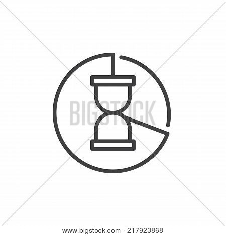 Pie chart with hour glass line icon, outline vector sign, linear style pictogram isolated on white. Time management symbol, logo illustration. Editable stroke