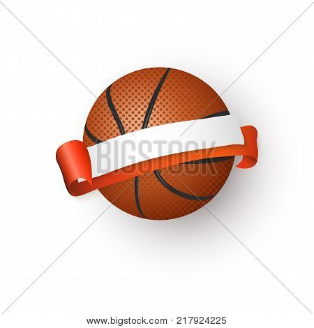Traditional orange basketball ball and blank, empty ribbon for text, emblem, logo design, realistic vector illustration isolated on white background. Realistic basketball ball and blank, empty ribbon