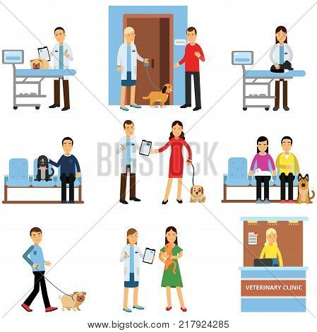 Veterinary clinic set, people visiting vet clinic with their pets, veterinary doctors examining dogs and cats cartoon vector Illustrations on a white background