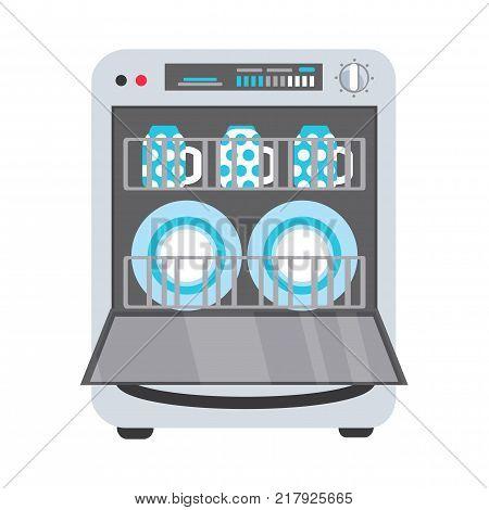 Freestanding dishwasher, dishwashing machine with open door, plates and mug inside, flat vector illustration isolated on white background. Flat style picture of dishwasher, dishwashing machine