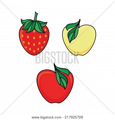 Set of yellow, red apple fruit and ripe strawberry berry icons, flat vector illustration isolated on white background. Stylized apple and strawberry flat style icon set