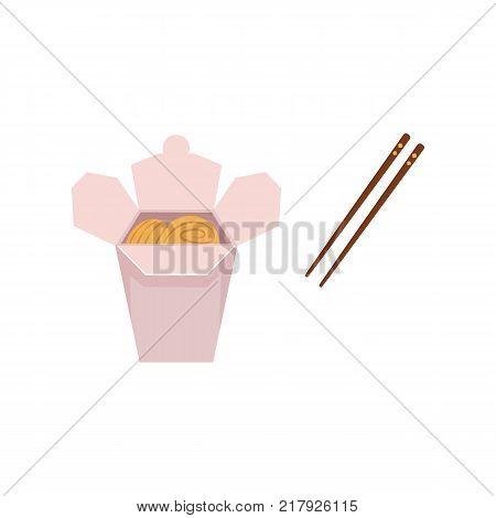 vector flat asian wok udon noodles in paper box with bamboo sticks. Stir fry eastern fastfood icon for menu design. Isolated illustration on white background