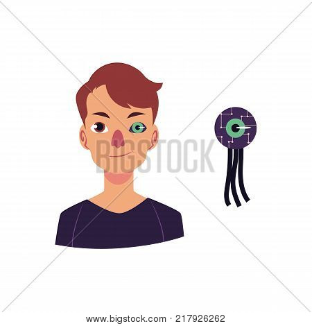 vector cartoon bionic futuristic mechanical prosthesis concept icon. Young man character with iron robotic eye. Isolated illustration on a white background.