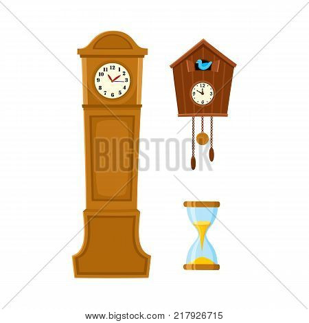 vector flat vintage wall mounted Cuckoo-clock alarm clock, vintage grandfather clock, hourglass or sandglass icon for your design. Isolated illustration on a white background.
