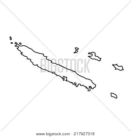 New Caledonia map of black contour curves on white background of vector illustration
