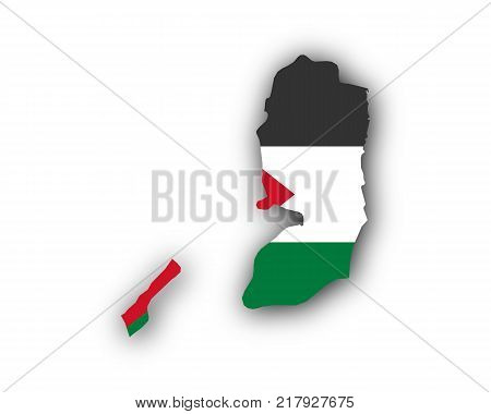 Detailed and accurate illustration of map and flag of Palestine