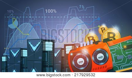 Bitcoin Mining Farm Digital Crypto Currency Modern Web Money Blue Background With Charts And Graphs Vector Illustration