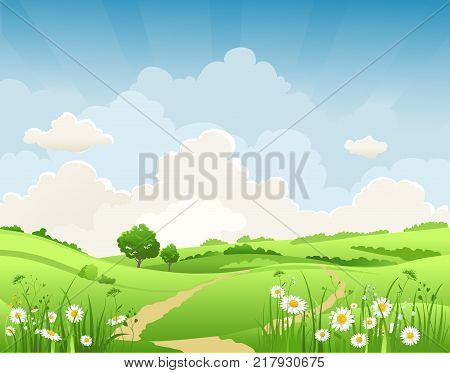 Summer vector landscape with trees and meadow of flowers. Sky, green grass and butterflies.