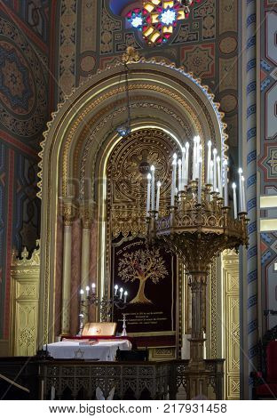 Bucharest Romania October 10 2017 : The interior of the synagogue Coral in Bucharest city in Romania