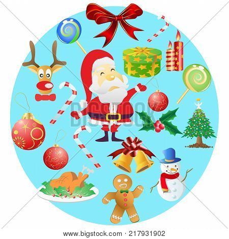 isolated Christmas symbols in round cricle on white background