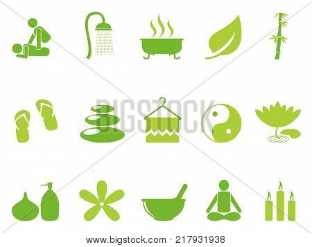 isolated green color spa icons set from white background