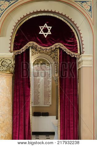 Bucharest Romania October 10 2017 : List of soldiers - Jews from Bucharest who died in the First World War hanging on the wall in the synagogue Coral in Bucharest city in Romania
