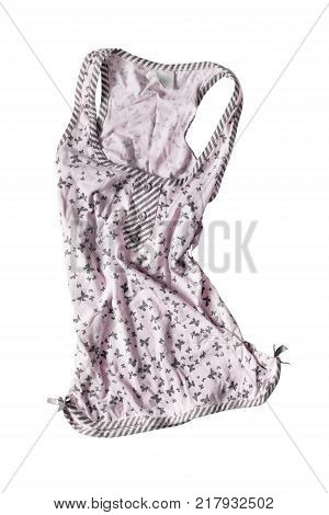 Pink cotton sleeveless crumpled top isolated over white