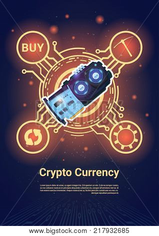Crypto Currency Bitcoin Microchip Banner With Copy Space Digital Web Money Concept Vector Illustration
