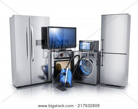 Modern consumer electronics on white background TV microwave fridge washer and electric-cooker. 3d illustration