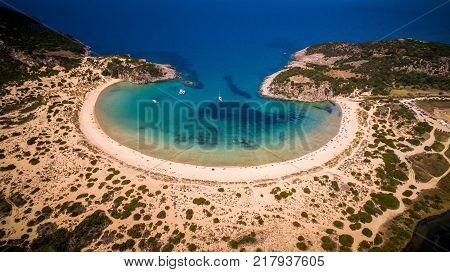 Aerial View Of Voidokilia Beach, Messinia, Greece