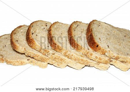 Sliced bread isolated on white background. Sliced bread pieces
